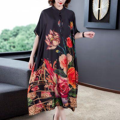 2020夏季新款复古立领大码真丝连衣裙女民族风宽松蝙蝠袖长款裙子