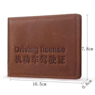 疯马头层牛皮驾驶证皮套男女真皮多功能驾驶证行驶证一体包驾照夹