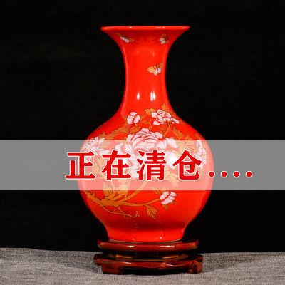 景德镇陶瓷器小花瓶中国红色摆件客厅插花结婚喜庆家居中式装饰品