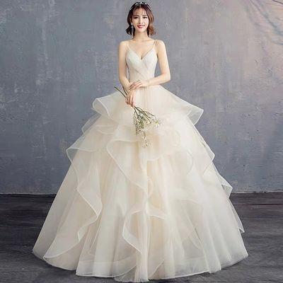 主婚纱礼服女2020新款新娘结婚齐地抹胸吊带V领蓬蓬裙显瘦长拖尾
