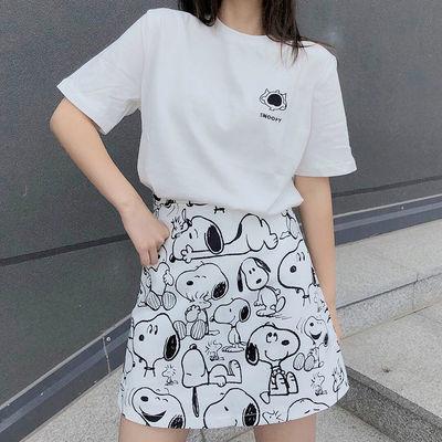 夏季新款a字半身裙短裙子女学生韩版ins网红白色高腰显瘦包臀中长