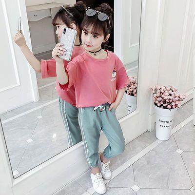 女童夏季套装2012儿童装中大童洋气潮女孩网红两件套春装短袖t恤