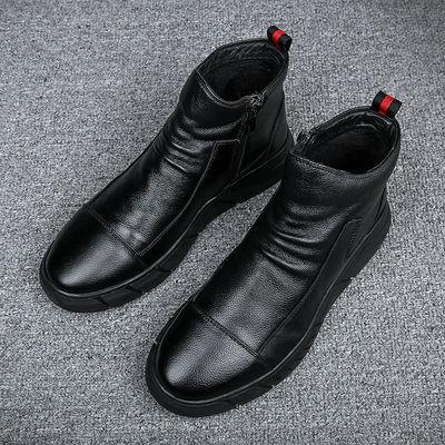 软皮英伦风短靴皮靴子马丁靴子套脚男士高帮休闲小皮鞋男鞋内增高