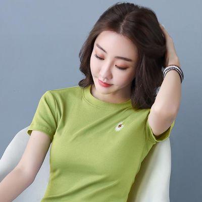 2020年夏季新款超爆体恤上衣小菊花实拍女装刺绣高弹短袖t恤女式
