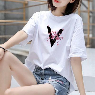 【100%纯棉】2020夏季新款白色韩版短袖t恤女宽松大码女装学生潮
