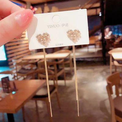 2020韩国东大门珍珠爱心流苏耳环女长款百搭显脸瘦一款两戴耳钉。