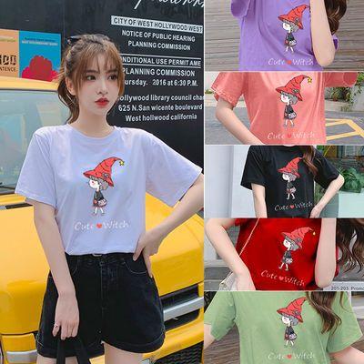 纯棉大码女装2020夏装5233#实拍超火卡通印花绿色宽松短袖T恤女