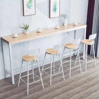 铁艺实木吧台桌家用现代简约靠墙窄桌子高脚桌奶茶店酒吧桌椅组合