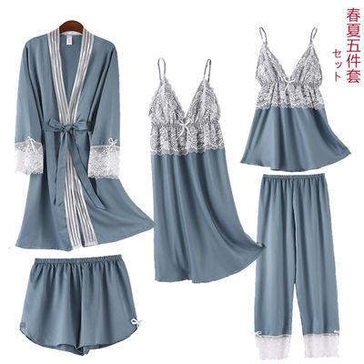 带胸垫真冰丝绸睡衣女夏季性感五件套吊带短长裤睡裙袍春秋家居服