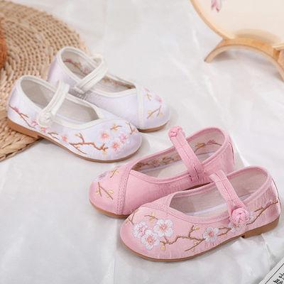 新款汉服鞋儿童鞋梅花软底防滑鞋老北京手工布鞋女童民族风绣花鞋
