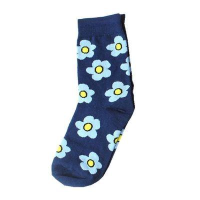 1双装 ins春夏网红小花袜子女纯棉复古经典中筒袜可爱日韩潮袜子