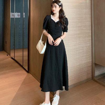 胖mm大码女装小黑裙夏季新款胖妹妹遮肚显瘦法式长款连衣裙200斤