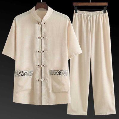 唐装男女短袖套装中老年人棉麻中国风老人衣服爷爷奶奶情侣装夏季