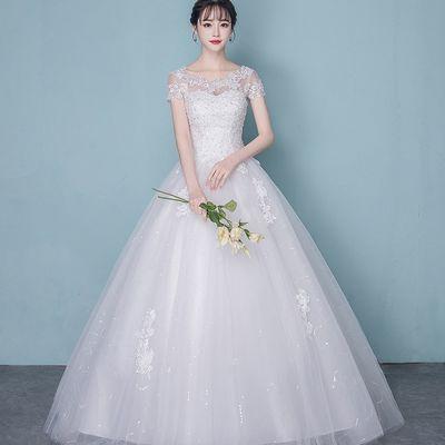 婚纱礼服2020新款韩式一字肩齐地新娘公主简约孕妇婚纱拖尾显瘦女
