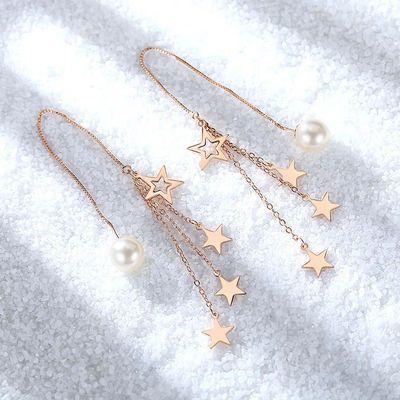 新款超仙气925银饰加珍珠耳坠潮流百搭小仙女必备s925银饰耳环