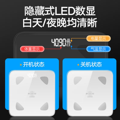 【秤出色彩,全面隐屏】2020新款蓝牙体脂秤USB充电电子秤体重秤