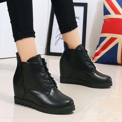 2020春秋新款坡跟内增高女鞋防水台厚底系带英伦风休闲皮鞋短靴女