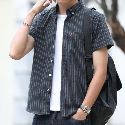 男士短袖夏季百搭寸休闲宽松韩版潮夏装2020新款衬衣条纹衬衫6003