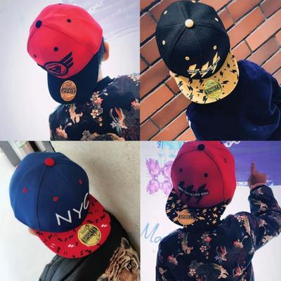 春秋儿童帽子男潮韩版男童女童棒球帽新款宝宝鸭舌帽嘻哈平沿帽19