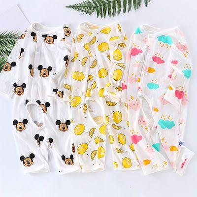 婴儿连体衣夏季长袖薄款纯棉春秋宝宝小孩外出衣服0到3个月空调服