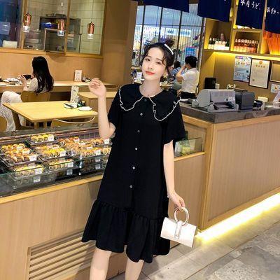 大码女装宽松小清新连衣裙夏季韩版显瘦娃娃领中长款荷叶边连衣裙