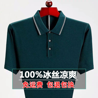 【真口袋】爸爸装短袖t恤夏装中年翻领POLO衫宽松大码冰丝男上衣