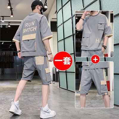 夏季套装男士短袖T恤新款韩版休闲运动服青少年工装短裤男装大码
