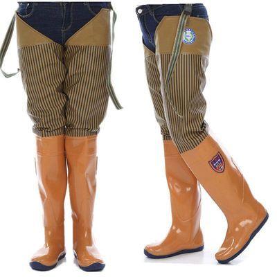 半身过膝水田靴高筒男女下水裤高筒雨鞋雨靴软底涉水钓鱼鞋插秧鞋