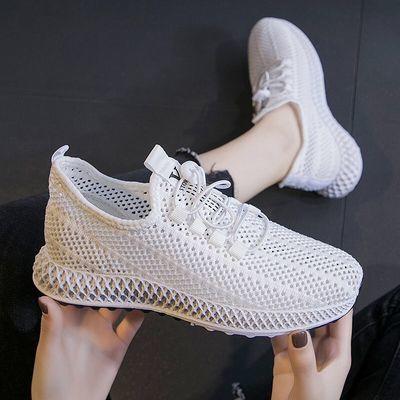 鞋子女鞋透气网鞋女韩版百搭休闲鞋飞织学生鞋运动鞋软底妈妈鞋女