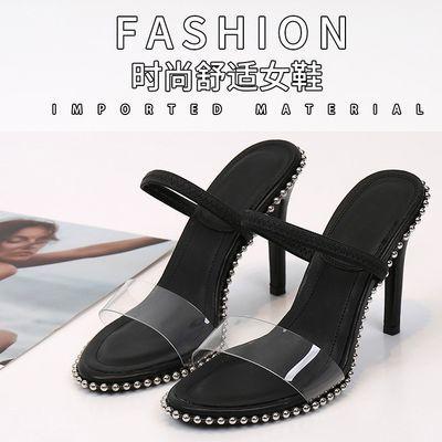 凉鞋女金泫雅同款高跟鞋女细跟露趾透明一字带字母单鞋aw大王潮鞋