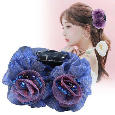 远方情美丽绽放花朵抓夹韩国新绢纱发夹头饰柔美发卡盘发饰品T258