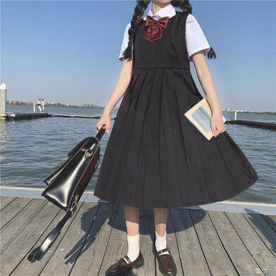 夏季学院风裙套装女衬衫+背带连衣裙女学生中长款韩版百搭a字裙子