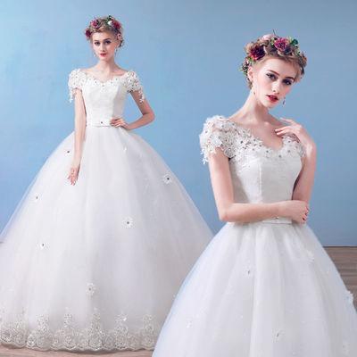 婚纱礼服2018新款新娘结婚韩版拖尾显瘦一字肩齐地春夏季孕妇婚纱
