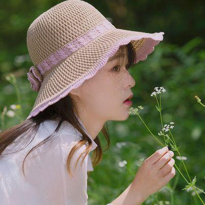 细编草帽子女士夏天韩版小香风大檐沙滩盆帽防晒遮阳帽可折叠