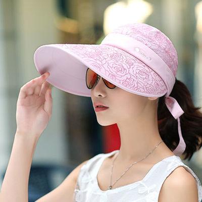 遮阳帽女夏季骑车大沿防晒帽遮脸防紫外线空顶帽户外百搭太阳帽女