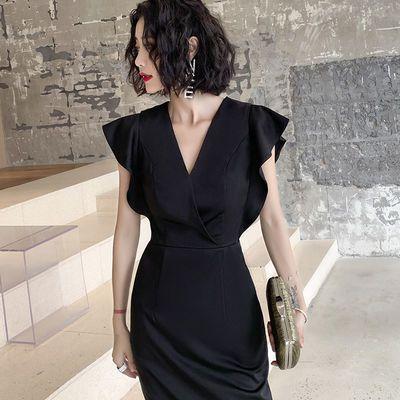 气质晚礼服裙女宴会高贵显瘦大气黑色晚宴小个子名媛中长款连衣裙