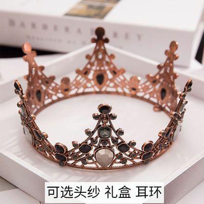 复古黑色皇冠头饰生日成人礼物女神王冠礼服配饰蛋糕摆件网红超仙