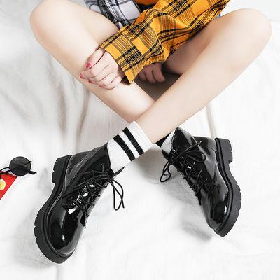 正品2020春秋新款英伦风学生平底加绒短靴马丁靴休闲小皮鞋女靴子