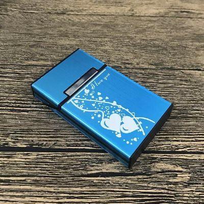 潮牌字母女士细烟烟盒 超薄金属铝合金20支装 加长男女磁铁翻盖
