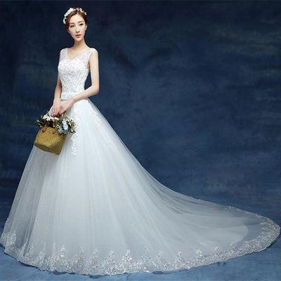 婚纱礼服2020新款春夏韩式中腰显瘦一字肩长拖尾新娘结婚婚纱花边