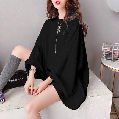 chic上衣秋季韩版200斤蝙蝠袖胖妹妹肥大码女装纯色中长款长袖T恤