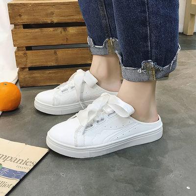 半拖鞋女小白鞋透气夏帆布学生韩版外穿平底夏季百搭潮同款学院风