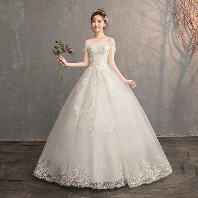 轻婚纱礼服2020新款新娘抹胸韩式一字肩齐地奢华定制显瘦修身森系