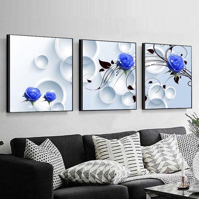 客厅装饰画餐厅壁画挂画卧室三联无框画沙发背景墙画现代简约北欧