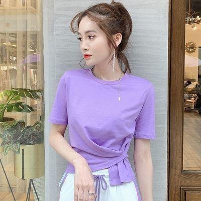 纯棉圆领短袖t恤女2020夏季新款女装韩版不规则交叉修身纯色ins潮
