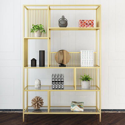 美式铁艺落地屏风隔断客厅架子实木书架现代简约展示架隔板置物架