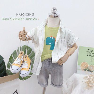 海齐星男童装 帅气男宝宝条纹衬衫韩版洋气夏季潮儿童短袖男上衣