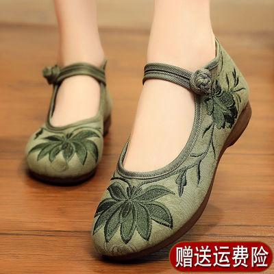老北京布鞋民族风绣花鞋女平跟厚底休闲低帮中式复古汉服平底单鞋