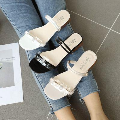 拖鞋女夏外穿学生韩版水钻凉鞋女粗跟夏季新款蝴蝶结中跟凉拖两穿