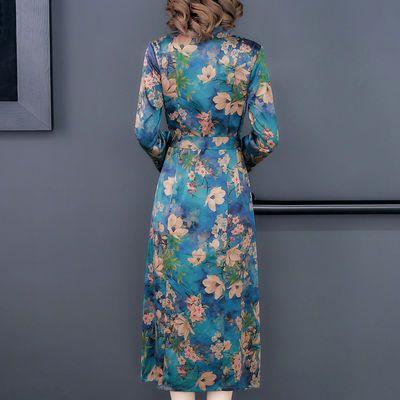 新品新款香云纱秋装桑蚕丝品牌真丝连衣裙女装中长春秋四十五岁女